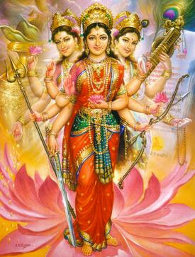This is Tridevi, the official Trinity in Hinduism